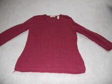 Kate Hill petite small maroon tunic v neck long sleeve top