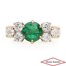 ROUD Diamond 2.60ct Emerald 18K 14K Gold Cluster Cocktail Ring 9.0 Grams NR