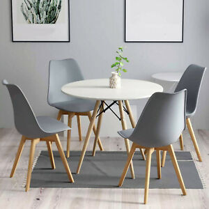 Eiffel Round Dining Table And Chairs 4 6 Retro Wooden Legs Soft Padded Seat UK