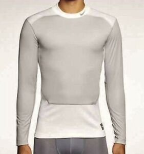 NIKE Hyperwarm Shield Dri Fit Max Fitted White Grey Training L/S Shirt NEW Men L