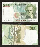 ITALY 5,000 5000 Lire 1985 P-111b UNC Uncirculated