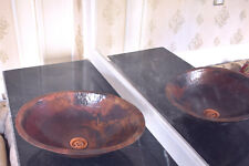 New listing Hammered Oval Copper Vessel Sink Bathroom 17 inch
