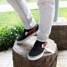 Vans Classic Slip-On Skate Shoes Men's Size 9.5 Black Logo Flame