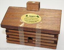 """LARGE 5.5"""" Log Cabin Burner +20 balsam fir sticks incense lodge holder Paine's"""