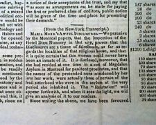 MARIA MONK Sexual Abuse of Nuns & Infantcide in Montreal FRAUD ? 1836 Newspaper