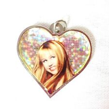 Hannah Montana Heart Shaped Necklace Bracelet Charm Glitter Sparkle