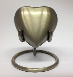 Silver Pewter Heart Keepsake Urn inc stand & box. CUSTOM ENGRAVING