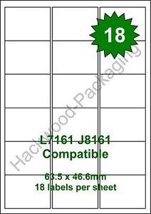 18 Labels per Sheet x 100 Sheets White Matt Copier Inkjet Laser
