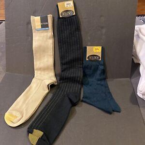 Gold toe dress socks, 1 navy, 1 Khaki, 1 Olive Green NEW