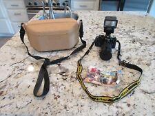 Nikon EM 35mm SLR Film Camera Body with lens, case, manual and flash