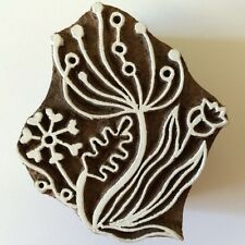 Hand-carved Indian Woodblock Stamp - Retro Flowers 1