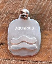 Vintage Aquarius Sterling Silver Pendant Horoscope Zodiac Charm 1970s Jewelry