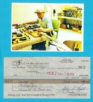 Leo Fender 1987 Autographed Signed G&L Check To UPS w/ HP Leo At Bench Photo