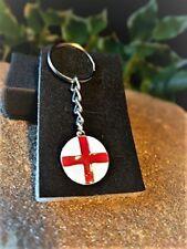 Handmade Saint George Silverplate & Enamel England Flag St George Keyring
