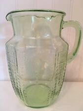 Vintage Depression Glass 60 Oz Pitcher in Princess Green by Anchor Hocking