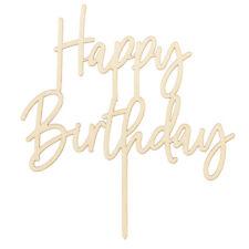 Cake Topper Happy Birthday aus Holz Kuchendekoration Tortenfigur
