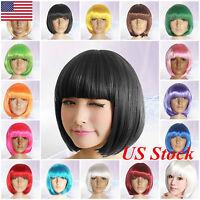 US Fashion Womens Lady Short Straight Hair Full Wigs Cosplay Party Bob Hair Wig