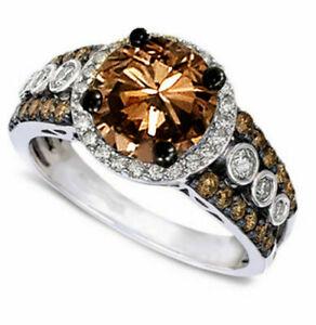 Round Cut Chocolate CZ Women Fashion Jewelry Ring J994