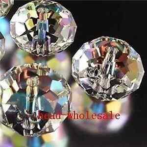 Wholesale 80pcs Shiny Clear Crystal Glass Spacer Bead Diy Bracelet 4x6mm