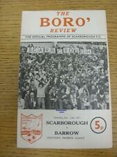 11/10/1975 Scarborough v Barrow  (Pen Mark On Cover). This item is in very good