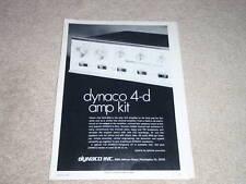Dynaco Quad SCA-80Q Amplificatore Annuncio, 1972, Articolo, Specifiche