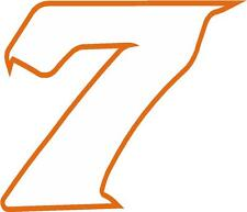 """x1 2"""" Race Number vinyl stickers (MORE in EBAY SHOP) Style 2 Number 7 White/Oran"""