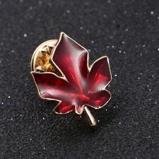 Rhinestone Clothing Accessories Enamel Brooch Red Maple Leaf Pin Plant Shape