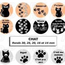 60 Images digitales pour bijoux cabochon Chat noir chaton bétises 5 formats rond