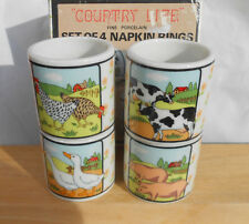 COUNTRY LIFE NAPKIN RINGS 4 COW PIG ROOSTER DUCK CHICKEN PORCELAIN BOX