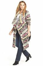 Lucky Brand Plus Size 2X Geometric Print Thick Draped Long Sweater Cardigan