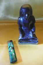 statuette d'homme assis egypte antique résine dure noire ebene