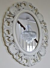 Off White Large French Style Carved Wooden Vintage Ornate Frame Oval Wall Mirror