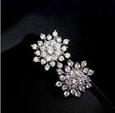 Snowflake Silver Crystal Rhinestone Ear stud Earrings , Wedding Bridal Jewelry