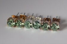 Stud Earrings with Chrysolite Swaroski Crystal Elements Choose Your Finish