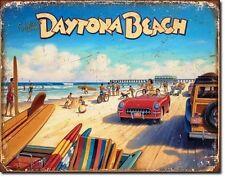 Vintage Replica Tin Metal Sign Daytona Beach Fl Corvette us Chevy Classic 1986