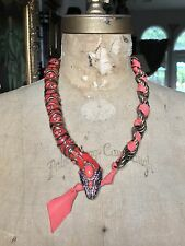 "LANVIN PARIS ORANGE RED SNAKE Enamel Bead Swarovski Crystal Necklace, 23"" $1,600"