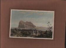 Hand coloured Engraving of GIBRALTER.  1820s Original Print. History & Art!