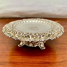 RARE TIFFANY & CO REPOUSSE STERLING SILVER TAZZA / COMPOTE - DECORATIVE MONOGRAM