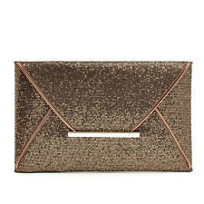 Elegant Women Envelope Clutch Bling Glitter Purse Makeup Bag HandBag Evening Bag