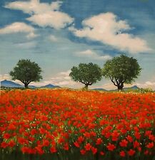 OOP MICHAEL MILLER DREAMY POPPY FIELD BLUE SKY TREES COTTON QUILT PANEL FABRIC