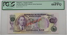 (1978) Philippines 100 Piso Specimen Note SCWPM# 164a-CS1 PCGS 66 PPQ Gem New