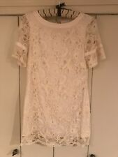 Petite Size 2 Dress Vintage Eci New York Knee length Ivory Lace Shift 1/2 Sleeve