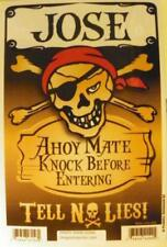 JOSE Pirate Privacy Door Sign/Ahoy Mate/Knock Before Entering/Tell No Lies!
