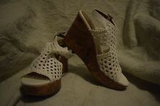 NEW Women's Size 7.5 Mudd Festival White Cork High Platform Wedge Shoes $54.99