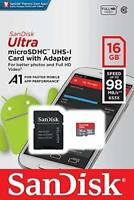SanDisk Ultra 16 GB microSDHC Memory Card  SD Adapter Up to 98 MB/s Class 10 U1
