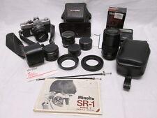 Minolta SR-1 Body w/ Minolta & Vivitar Lenses and Flash w/ Cases & More!