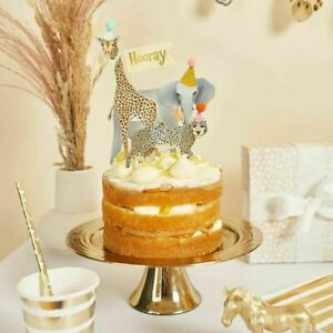 Party Animal Pom Pom Cake Toppers, Safari Animals Birthday Party Cake Toppers x4
