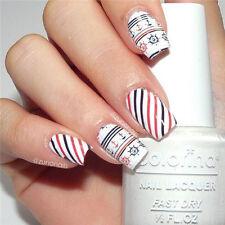 2 Patterns/Sheet Water Decals Anchor Stripe Nail Art Stickers Decor Born Pretty