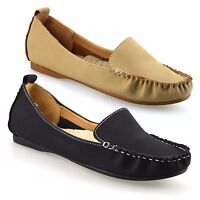 Ladies Womens New Slip On Leather Flat Casual Moccasin Loafers Pumps Shoes Size