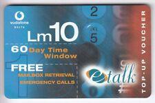 EUROPE  TELECARTE / PHONECARD .. ILE MALTE 10LM E-TALK VODAFONE VOUCHER +N°